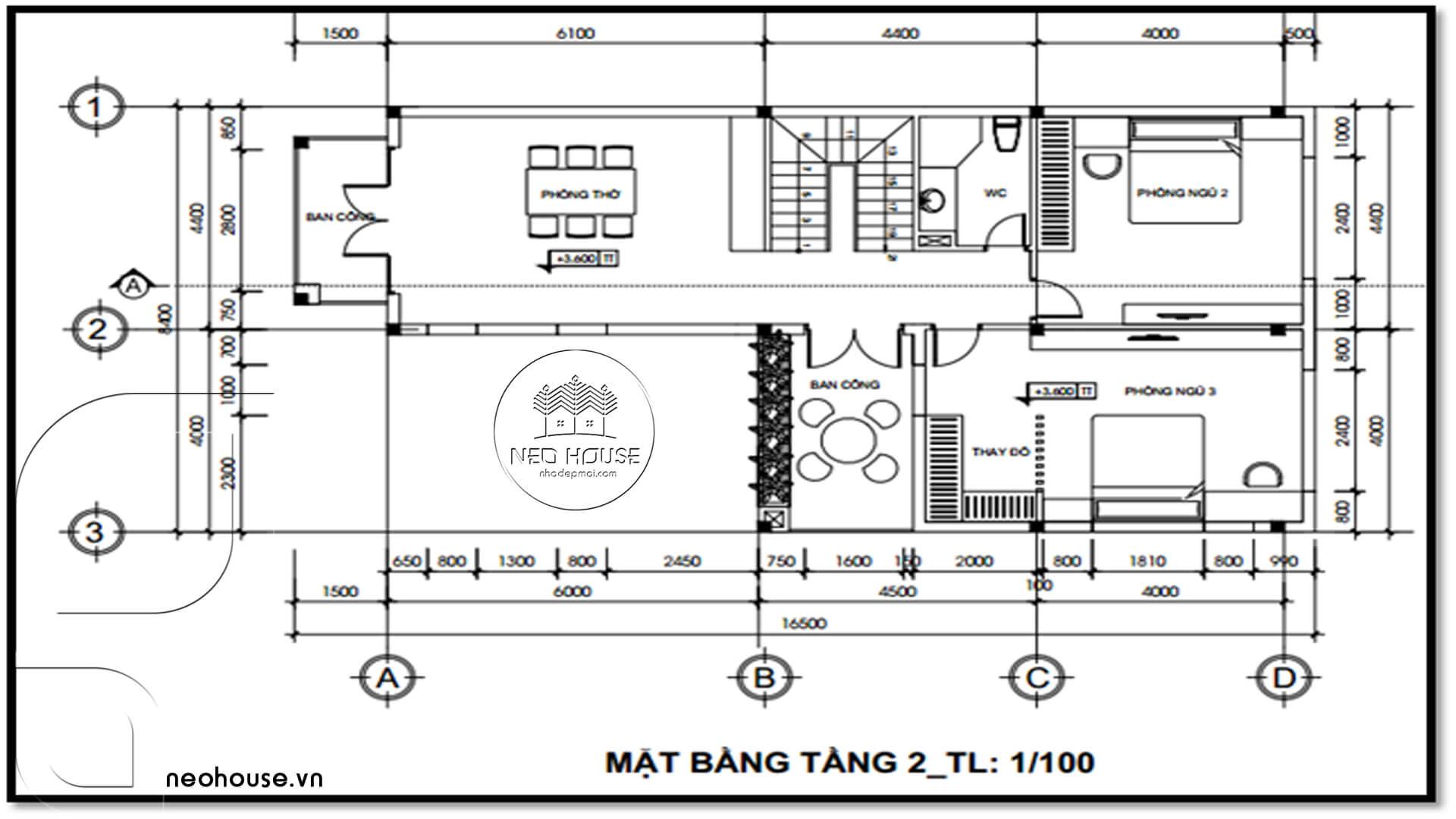bản vẽ thiết kế nhà 2 tầng mái thái 1