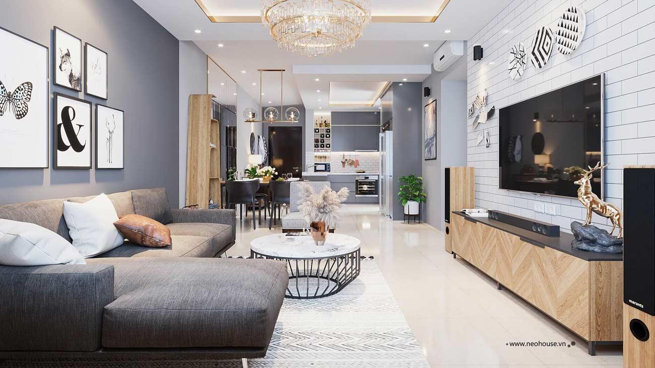 thiết kế nội thất phòng khách liền bếp 6