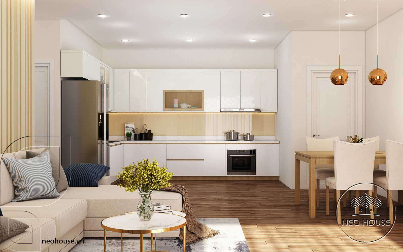 Thiết kế nội thất đẹp với phòng khách liền bếp 2