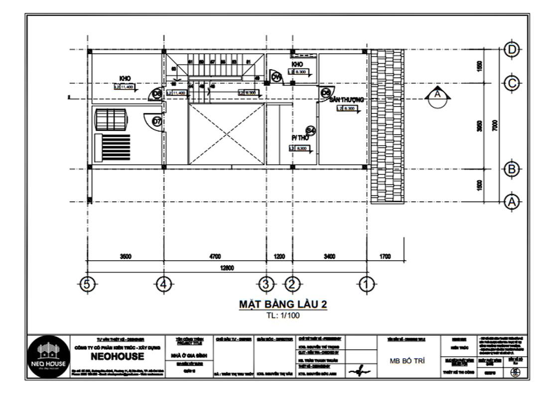 Mặt bằng công năng lầu 2 biệt thự phố 3 tầng