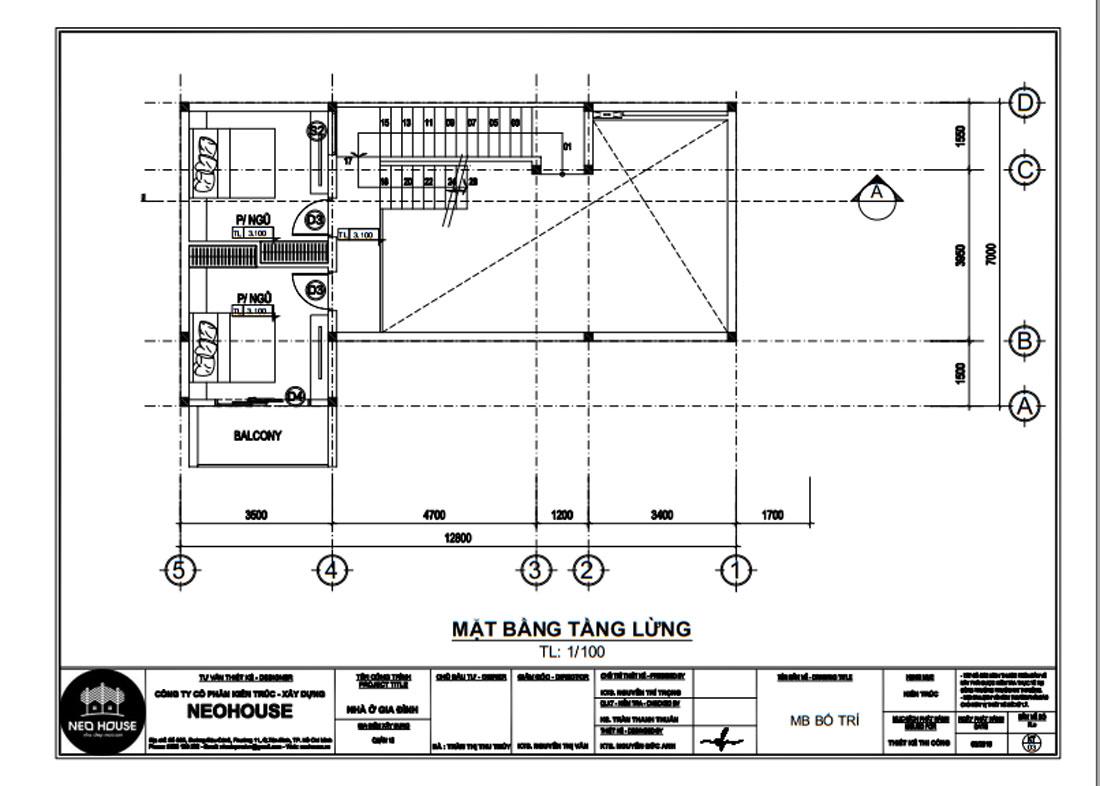Mặt bằng công năng tầng lửng biệt thự phố 3 tầng