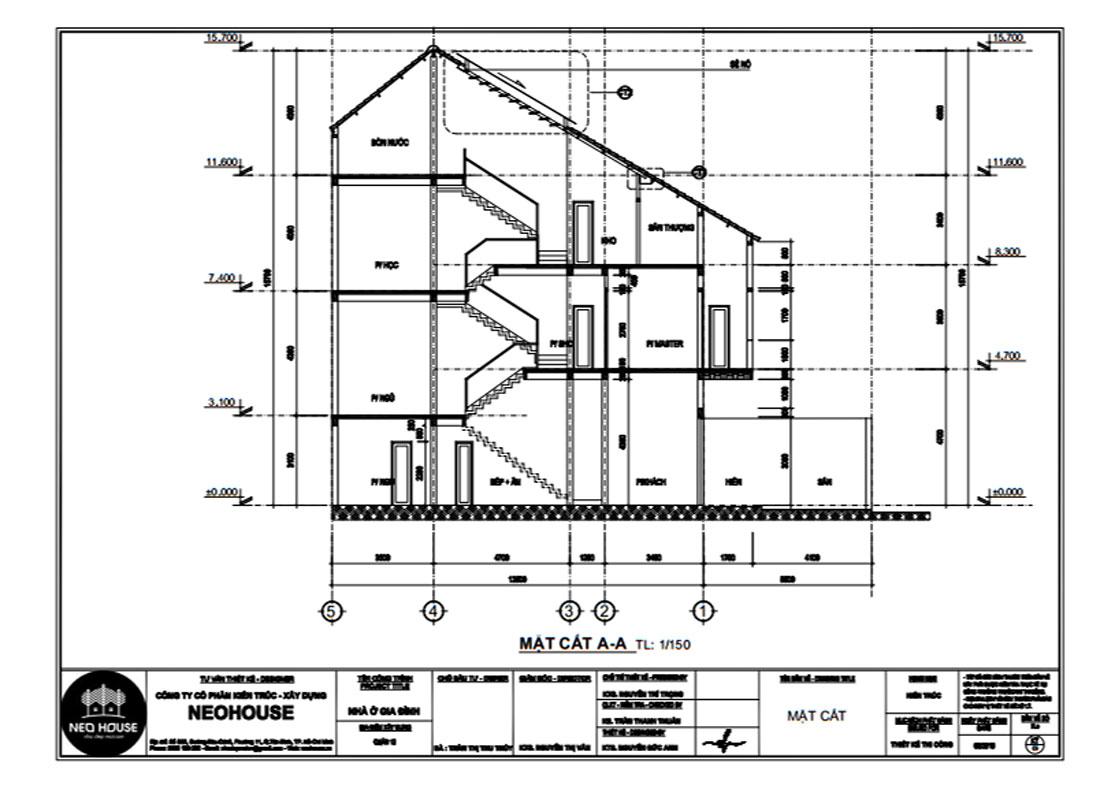 Mặt cắt A-A biệt thự phố 3 tầng