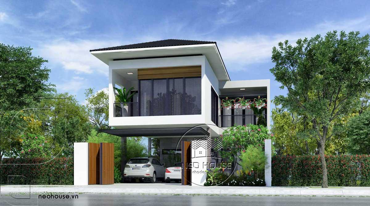 mẫu nhà mái thái 2 tầng đẹp