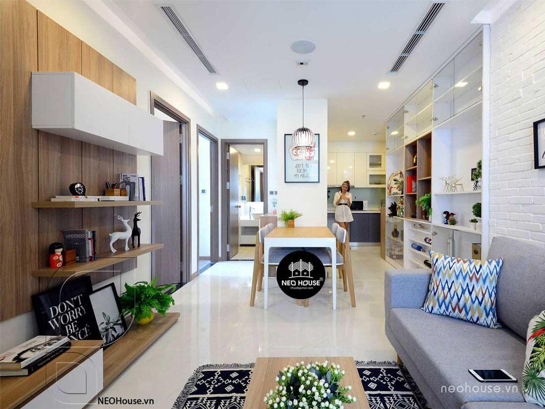 Thiết kế nội thất đẹp với phòng khách liền bếp 3