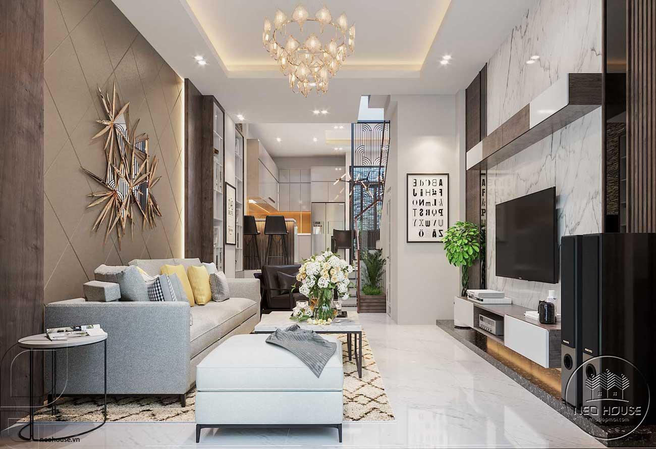 Thiết kế nội thất đẹp với phòng khách liền bếp 1