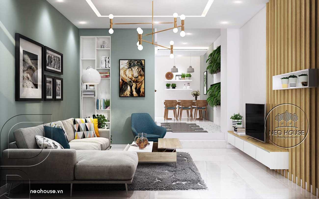 Thiết kế nội thất đẹp với phòng khách liền bếp 4