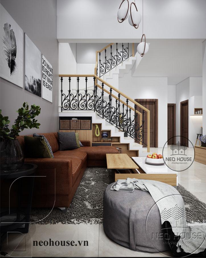 thiết kế nội thất phòng khách có cầu thang 1