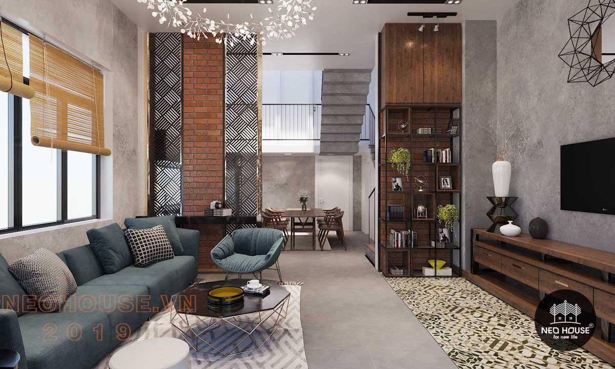 Thiết kế nội thất phòng khách biệt thự phố 3 tầng
