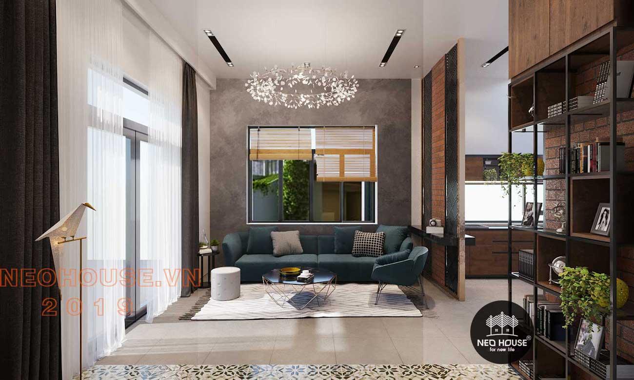 Phối cảnh thiết kế nội thất phòng khách biệt thự phố 3 tầng