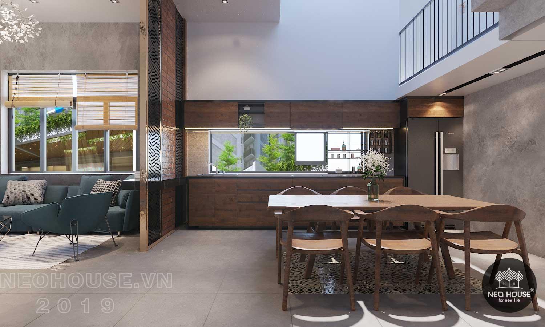 Thiết kế nội thất phòng bếp + ăn biệt thự phố 3 tầng