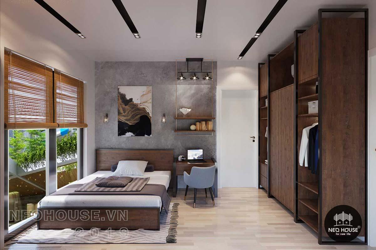 Thiết kế nội thất phòng ngủ Master biệt thự phố 3 tầng