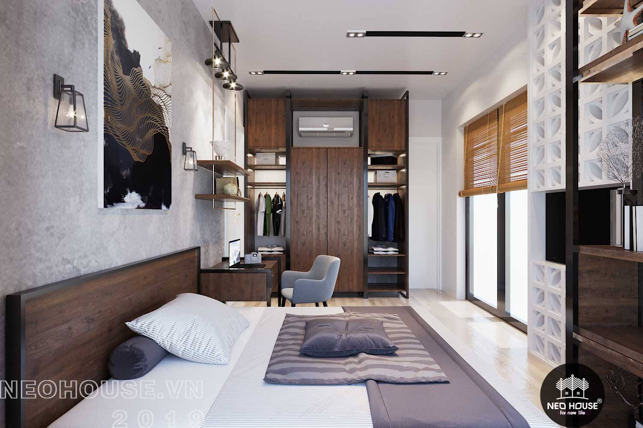 Thiết kế nội thất phòng ngủ Master biệt thự phố 3 tầng đẹp