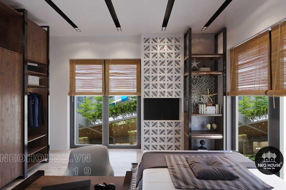 Mẫu nội thất phòng ngủ Master biệt thự phố 3 tầng hiện đại