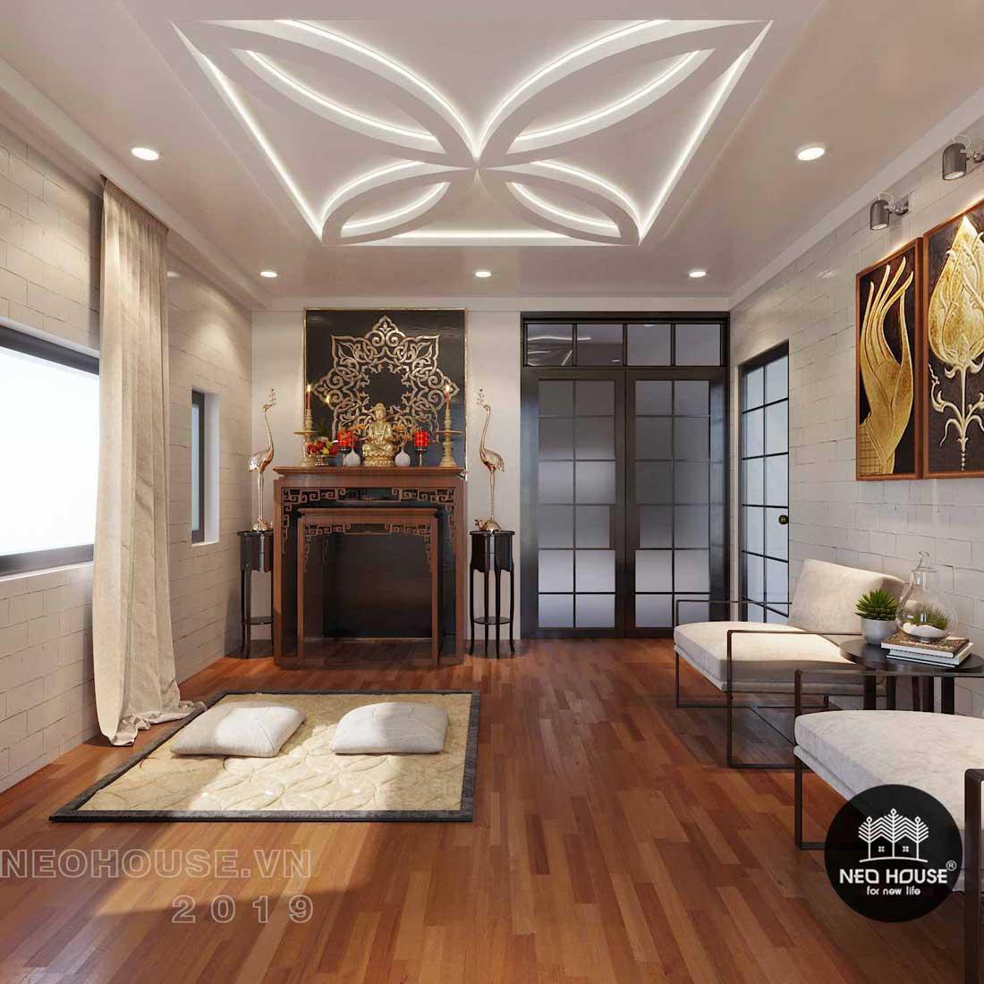 Thiết kế nội thất phòng thờ biệt thự phố 3 tầng