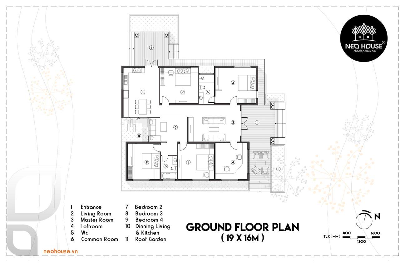 bản vẽ mẫu nhà cấp 4 có 3 phòng ngủ