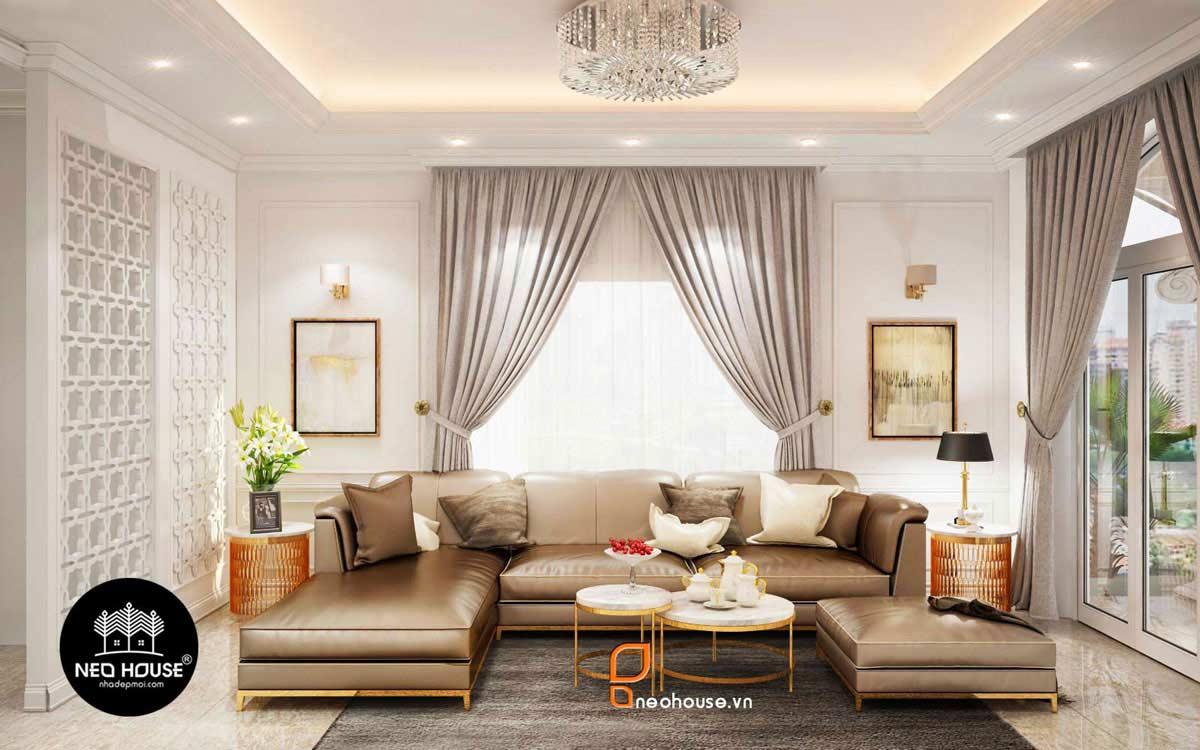 mẫu trần thạch cao cho phòng khách liền bếp