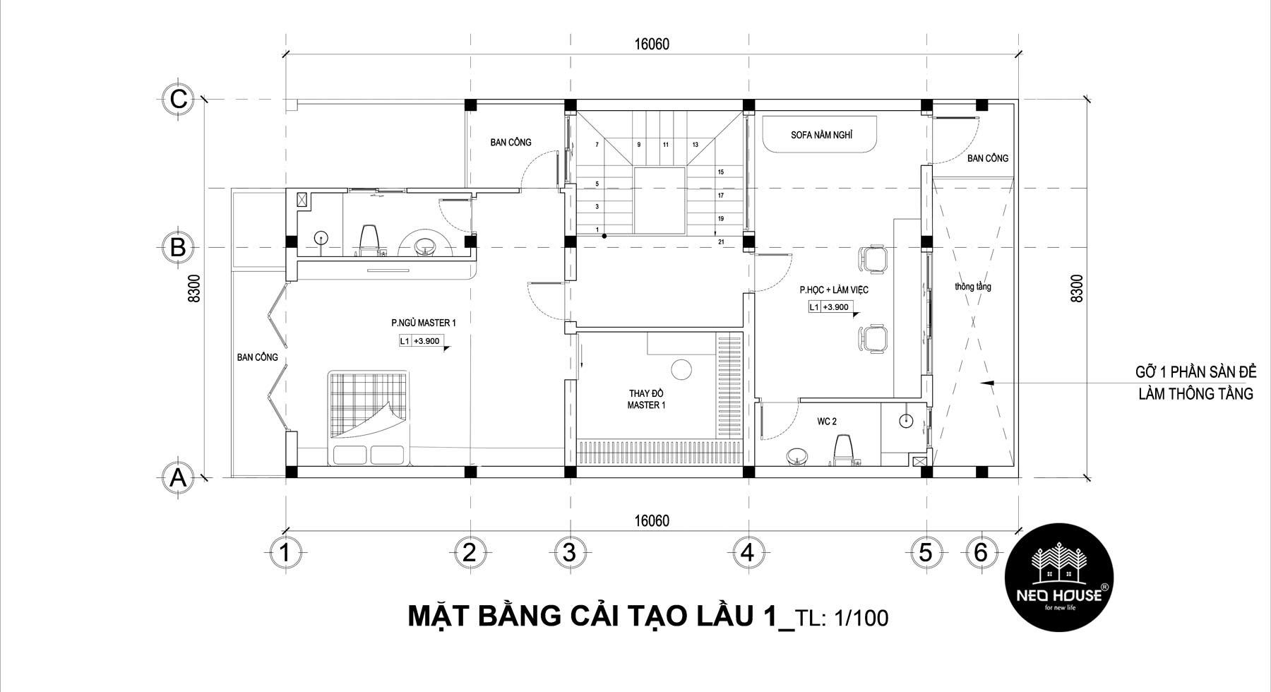 Bản vẽ mặt bằng thiết kế nhà phố 3 tầng hiện đại 2