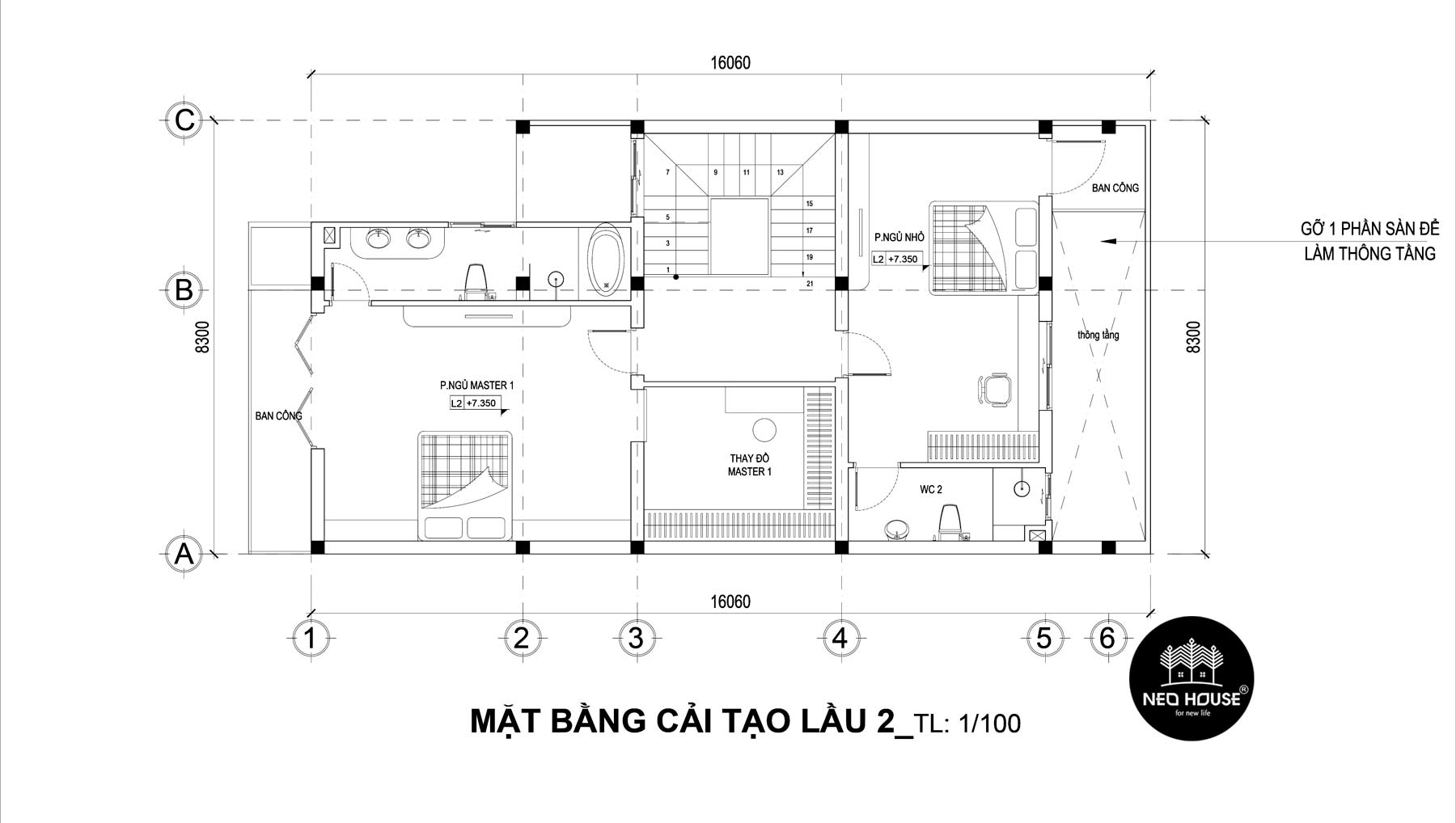 Bản vẽ mặt bằng thiết kế nhà phố 3 tầng hiện đại 3
