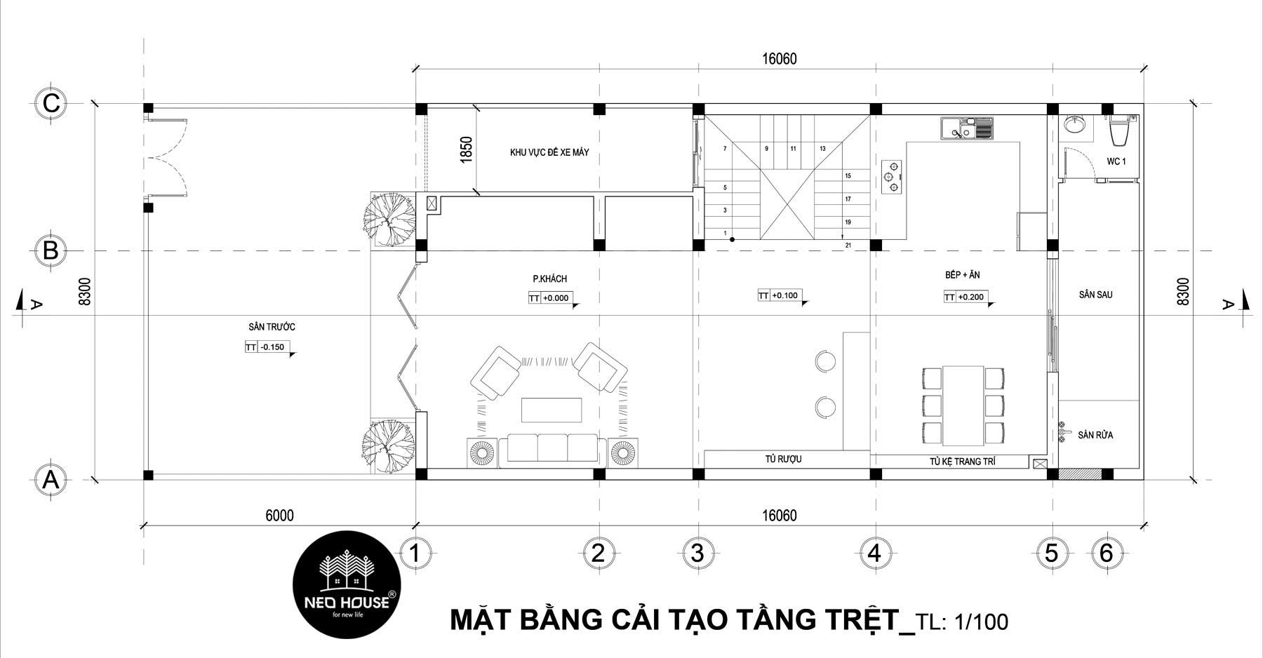 Bản vẽ mặt bằng thiết kế nhà phố 3 tầng hiện đại 1