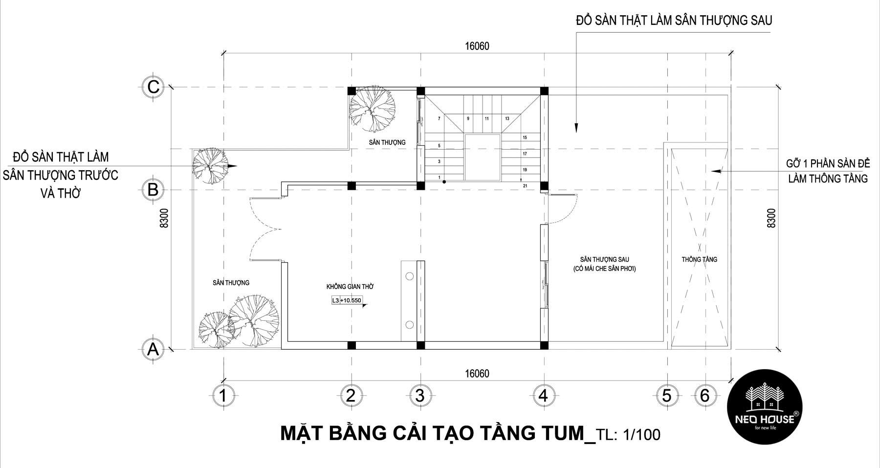 Bản vẽ mặt bằng thiết kế nhà phố 3 tầng hiện đại 4