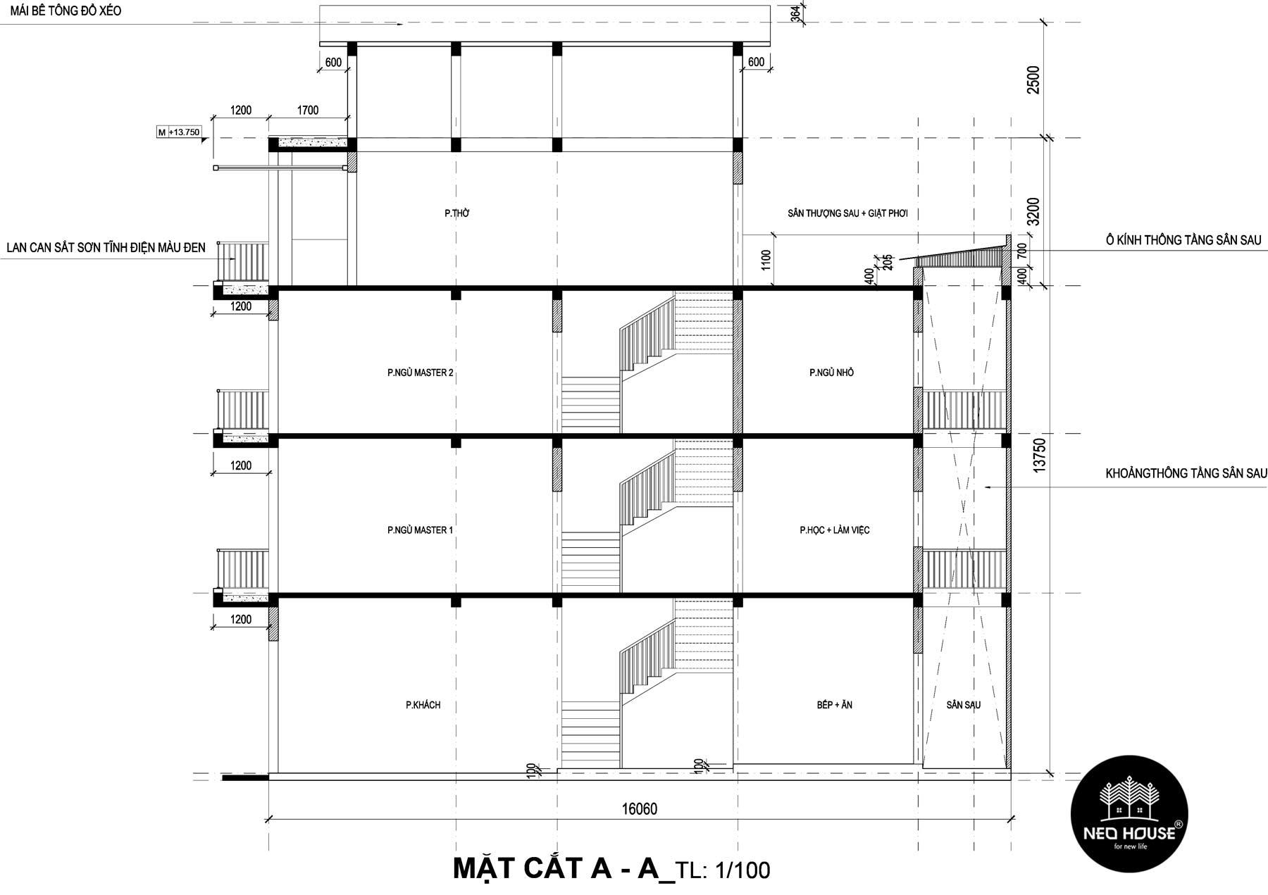 Bản vẽ mặt cắt thiết kế nhà phố 3 tầng hiện đại