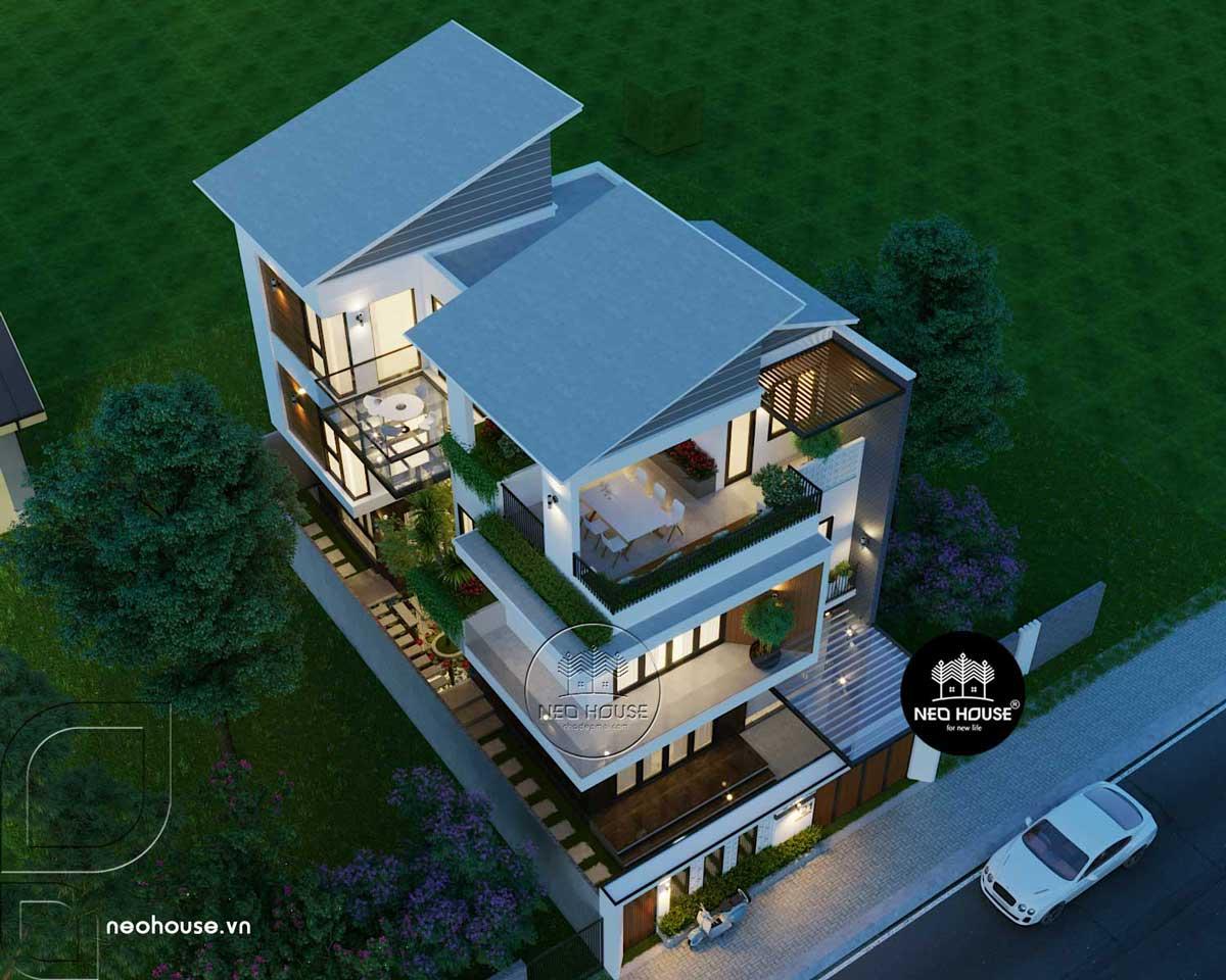 Mẫu thiết kế biệt thự 3 tầng đẹp theo phong cách hiện đại