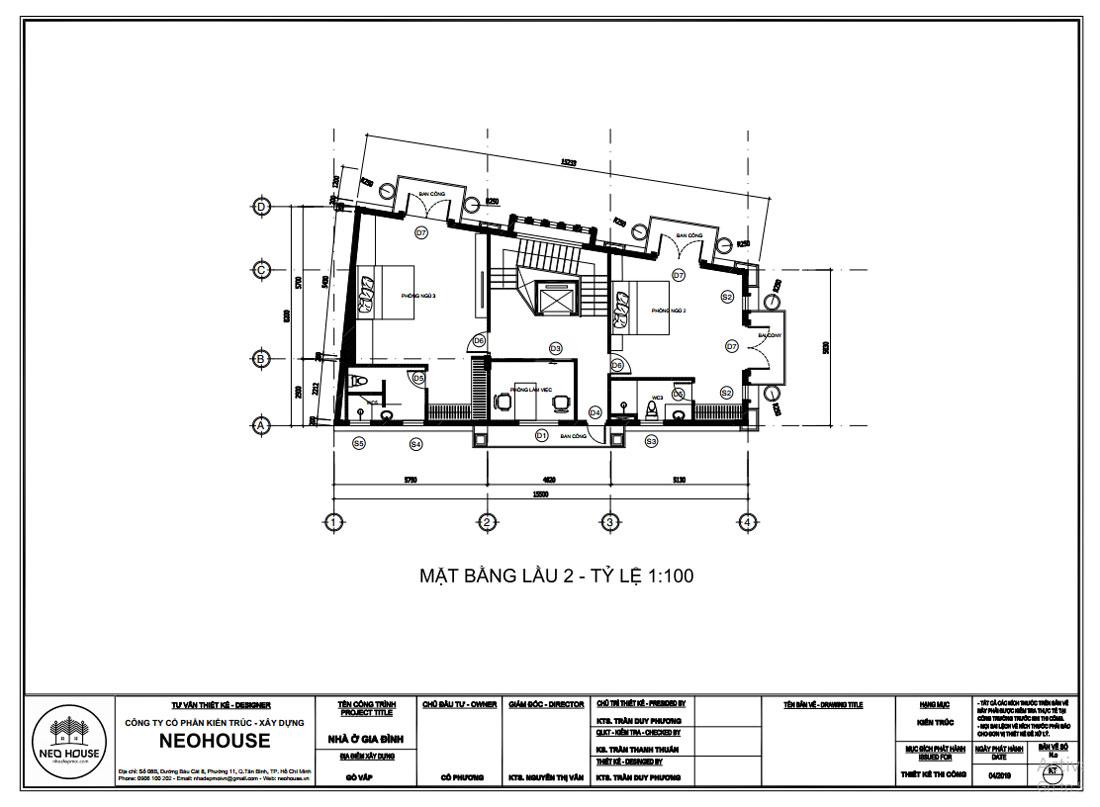 Mặt bằng công năng lầu 2 mẫu thiết kế biệt thự tân cổ điển 4 tầng 1 tum