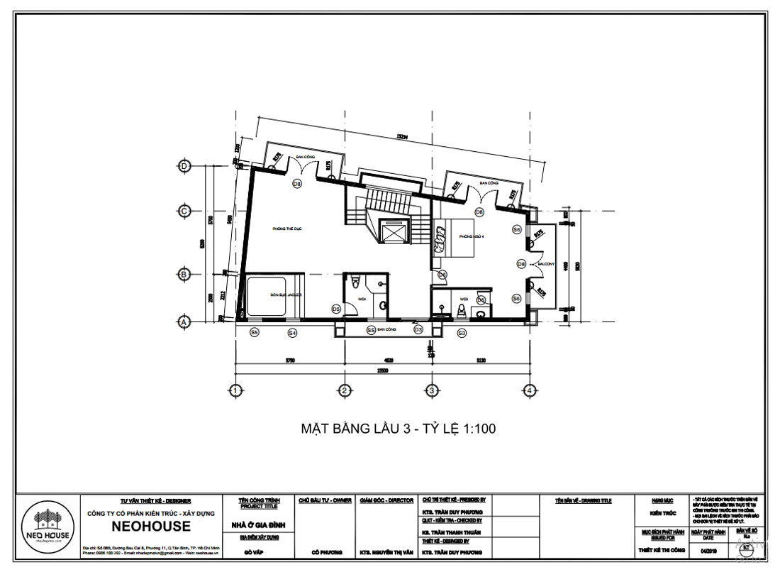 Mặt bằng công năng lầu 3 mẫu thiết kế biệt thự tân cổ điển 4 tầng 1 tum