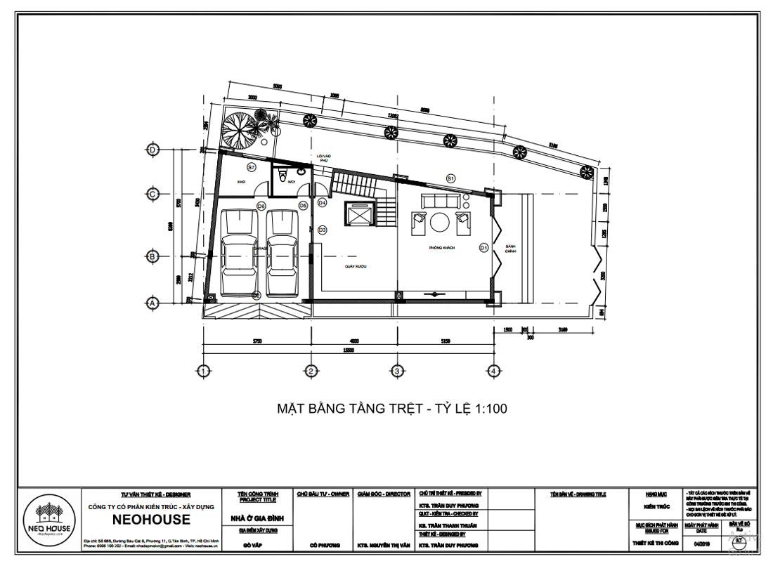 Mặt bằng công năng tầng trệt mẫu thiết kế biệt thự tân cổ điển 4 tầng 1 tum