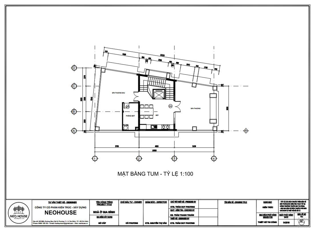 Mặt bằng công năng tum mẫu thiết kế biệt thự tân cổ điển 4 tầng 1 tum