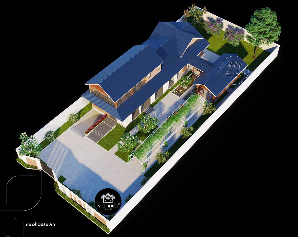 Phối cảnh mẫu biệt thự sân vườn 2 tầng đẹp