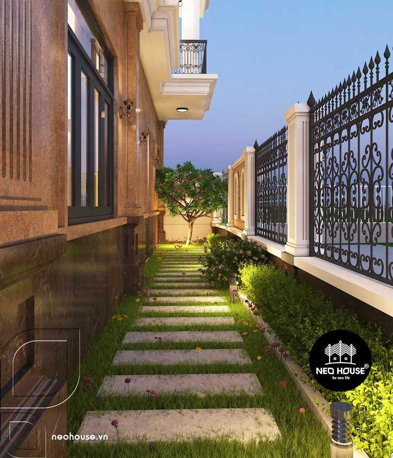 Phối cảnh sân vườn biệt thự tân cổ điển 4 tầng 1 tum