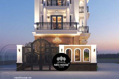 Thiết Kế Biệt Thự Tân Cổ Điển 4 Tầng 1 Tum Đẹp Tại Gò Vấp – BTB04