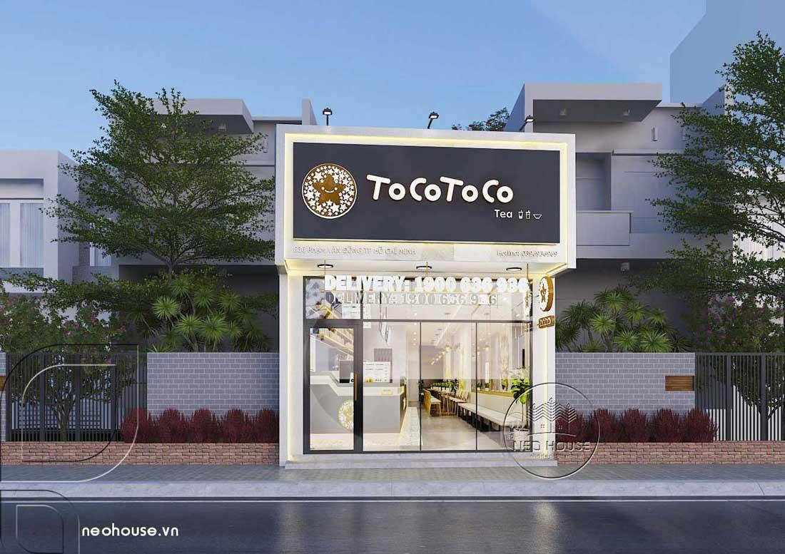 Thiết kế quán trà sữa Tocotoco 5x18m