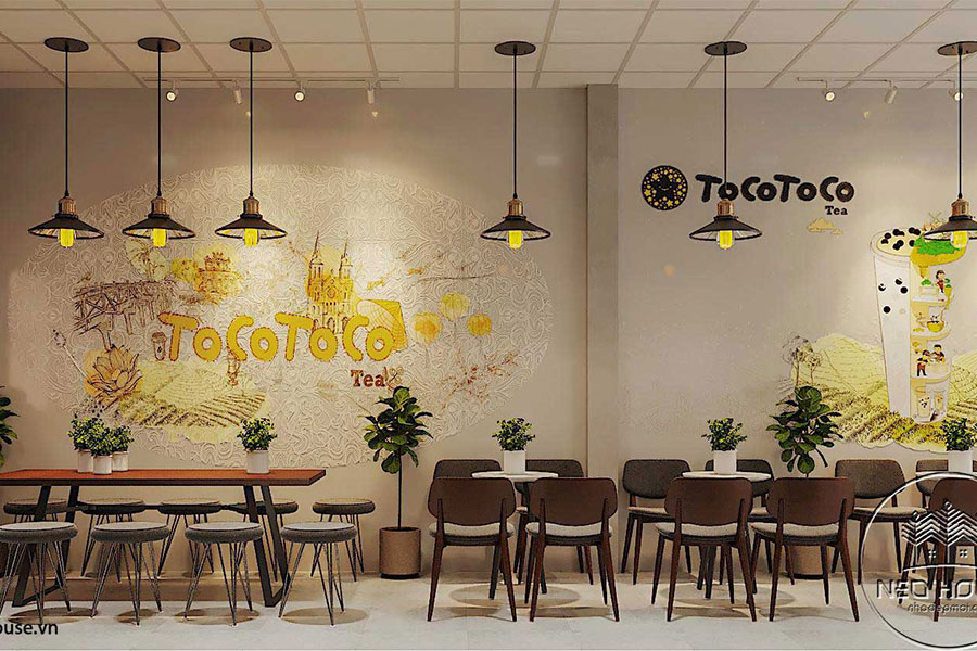 Thiết kế thi công nội thất quán trà sữa tocotoco. Ảnh bìa