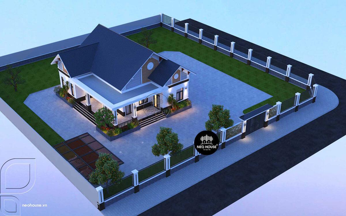 Biệt thự nhà vườn 1 tầng mái thái 3