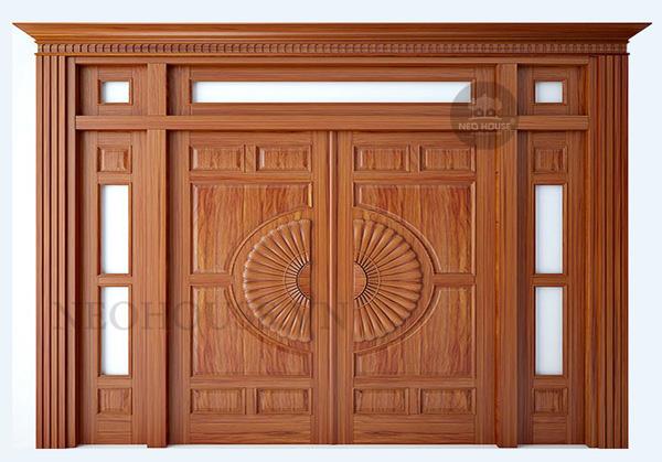kích thước cửa chính 4 cánh không đều nhau