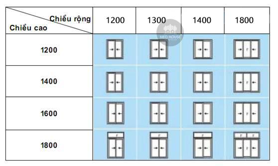 kích thước cửa sổ 2 cánh mở trượt