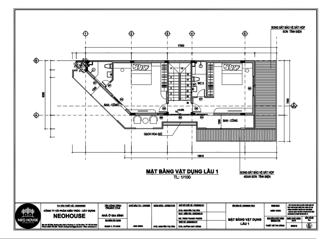 Mặt bằng công năng lầu 1 biệt thự hiện đại 4 tầng