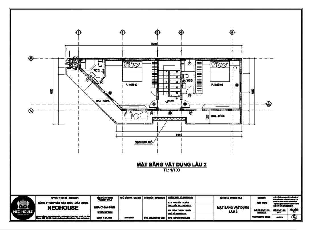 Mặt bằng công năng lầu 2 biệt thự hiện đại 4 tầng
