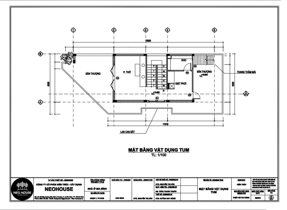 Mặt bằng công năng tầng tum biệt thự hiện đại 4 tầng