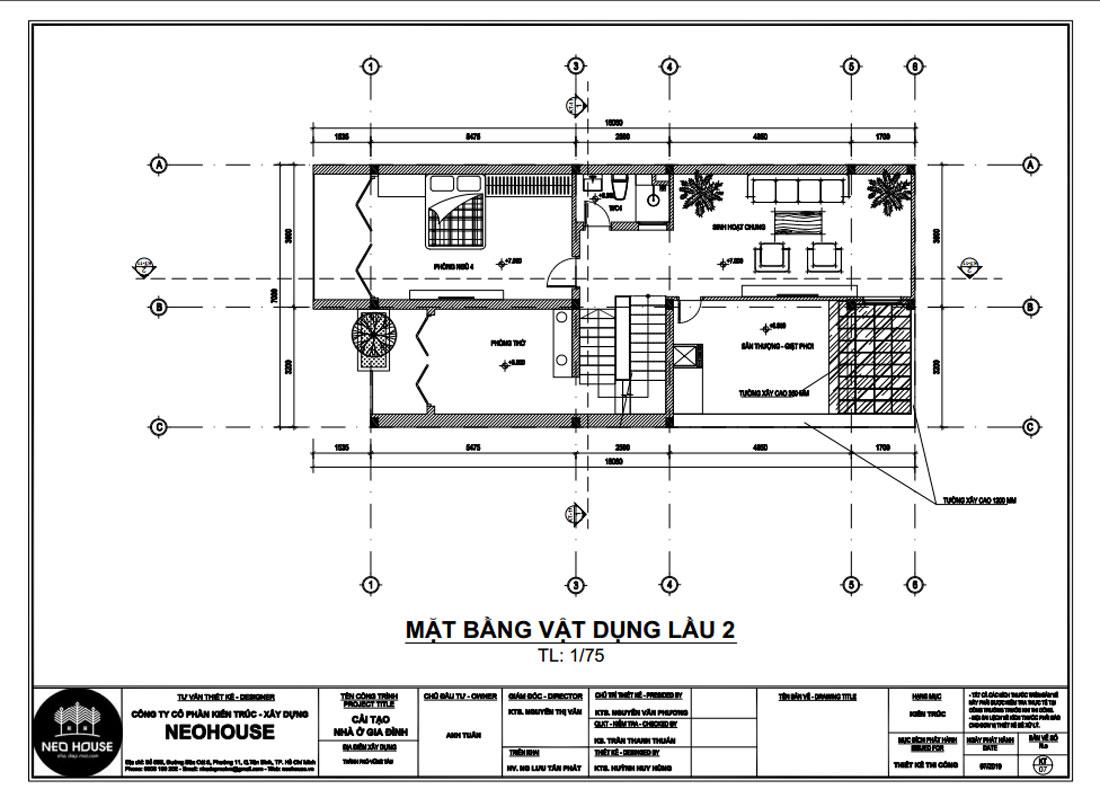 Mặt bằng công năng lầu 2 biệt thự 3 tầng hiện đại