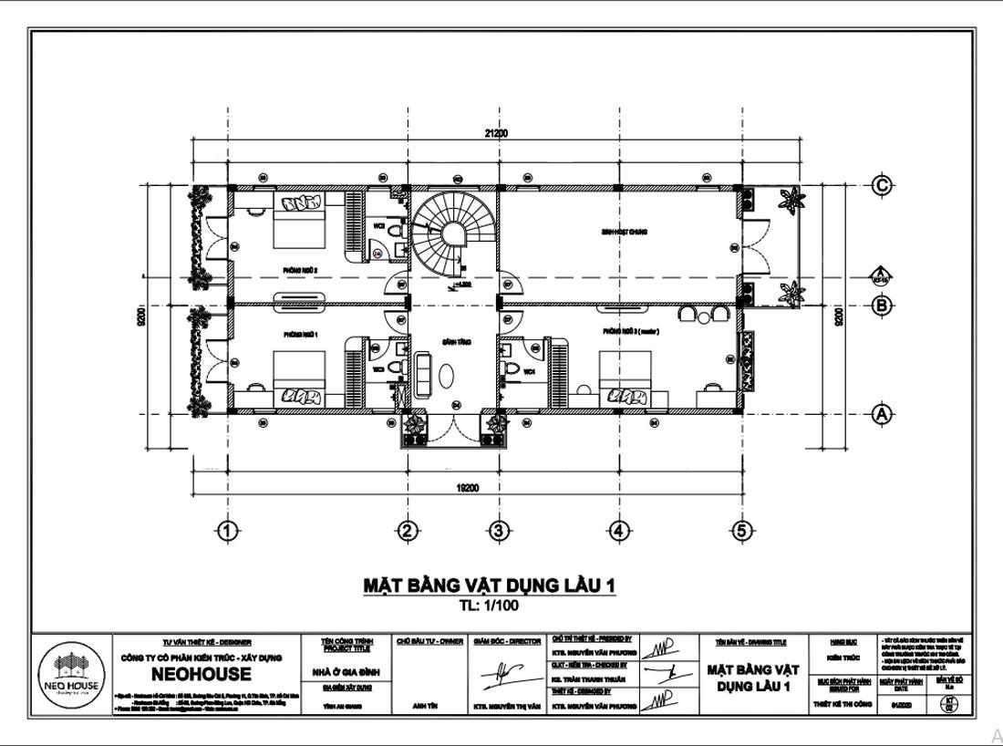 Mặt bằng công năng lầu 1 biệt thự tân cổ điển 3 tầng