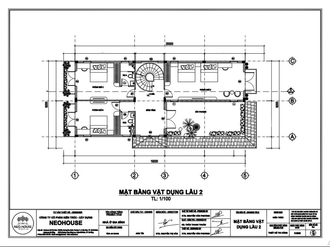 Mặt bằng công năng lầu 2 biệt thự tân cổ điển 3 tầng