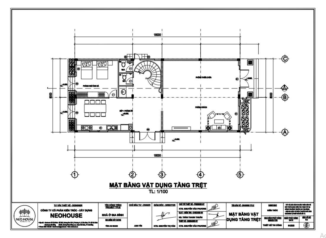 Mặt bằng công năng tầng trệt biệt thự pháp 3 tầng