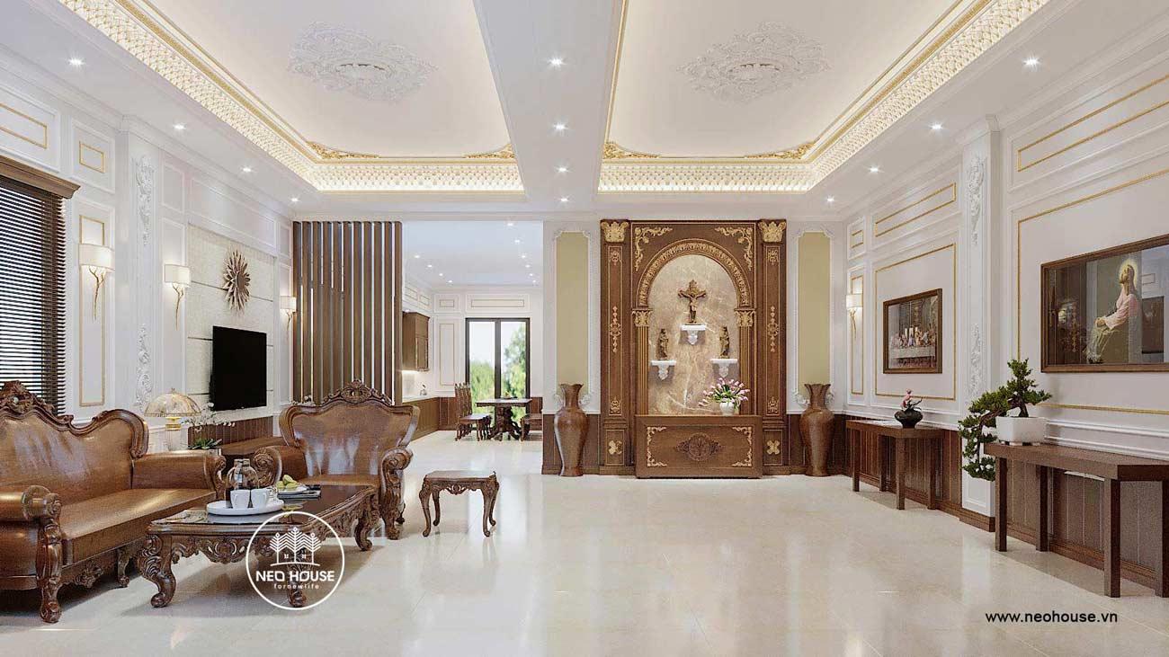 Thiết kế nội thất phòng khách biệt thự tân cổ điển 3 tầng