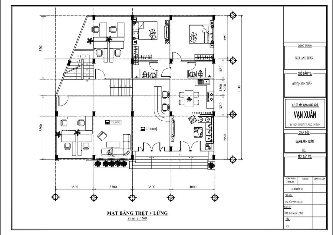 Mặt bằng công năng tầng trệt và lửng nhà ngỉ 4 tầng tân cổ điển