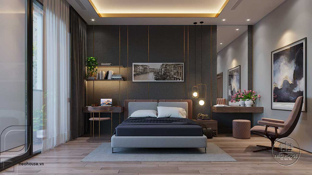 Nội thất biệt thự đẹp phòng ngủ master. Ảnh 1