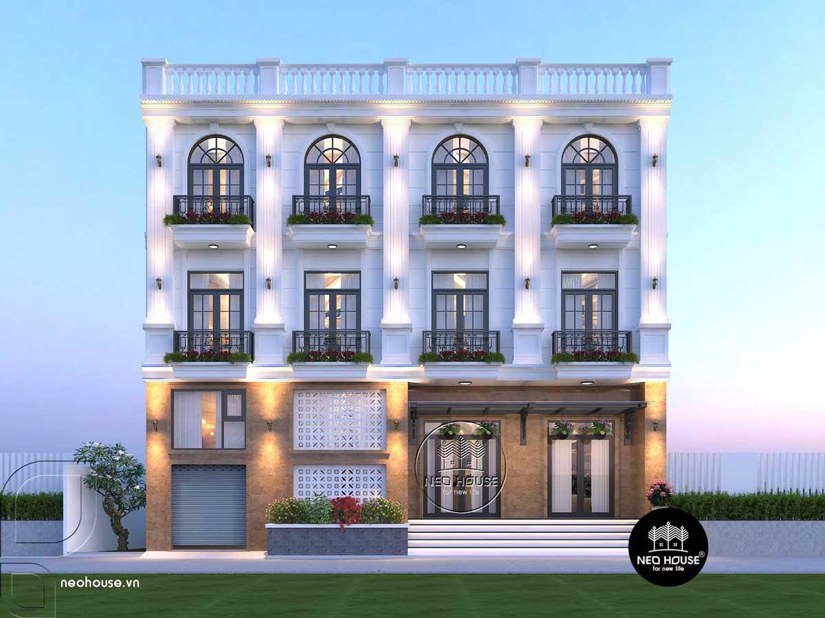 Thiết kế nhà nghỉ 4 tầng tân cổ điển. Ảnh 1