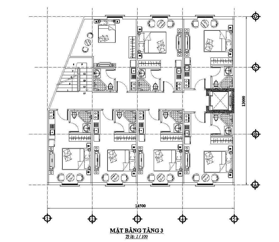 Mặt bằng công năng tầng 3 nhà ngỉ 4 tầng tân cổ điển
